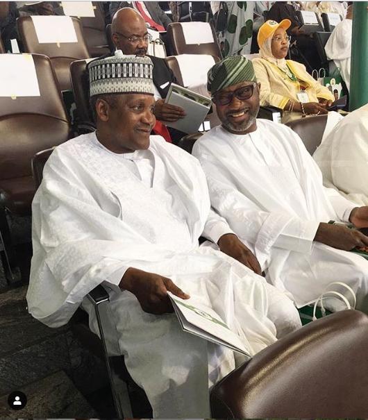 Photo of Dangote and Otedola at the inauguration ceremony of President Muhammadu Buhari and Professor Yemi Osinbajo in Abuja