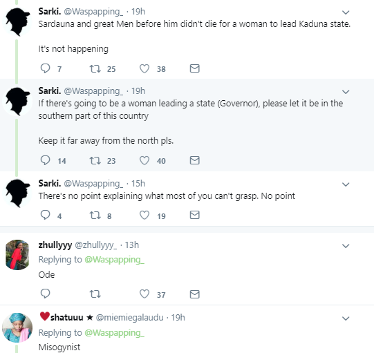 Nigerians react as man openly kicks against a woman being inaugurated as Kaduna deputy governor