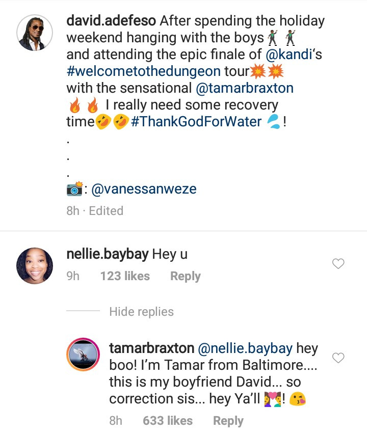 "Between Tamar Braxton and a follower who said ""hi"" to her Nigerian boyfriend"