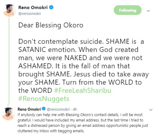 Please do not contemplate suicide- Reno Omokri appeals to relationship blogger, Blessing Okoro