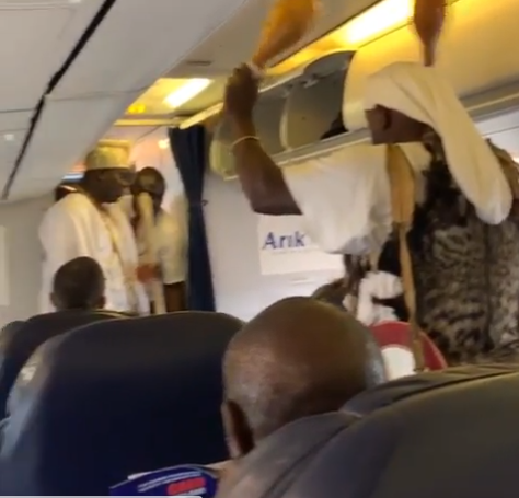 Nigerians plead the blood of Jesus on plane as Ooni of Ife