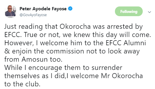 Here is how Ex-Gov Fayose reacted to the false news of Rochas Okorocha