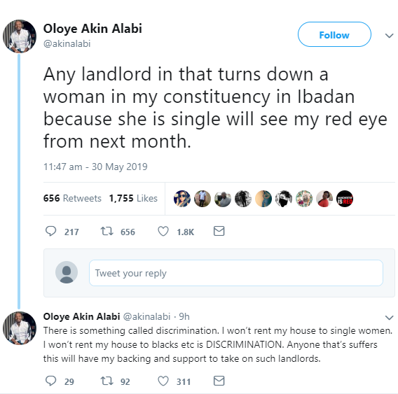 Akin Alabi promises to deal with landlords who refuse to rent their houses to single women