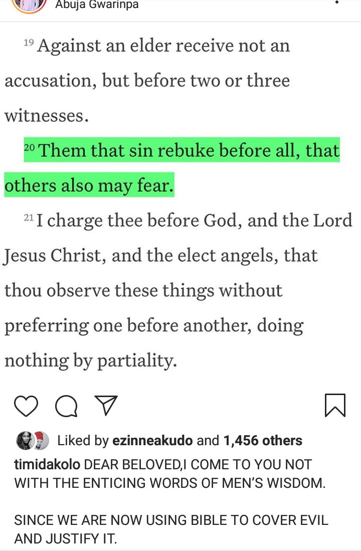 Timi Dakolo quotes Bible verses to justify calling out a pastor who sexually abuses women