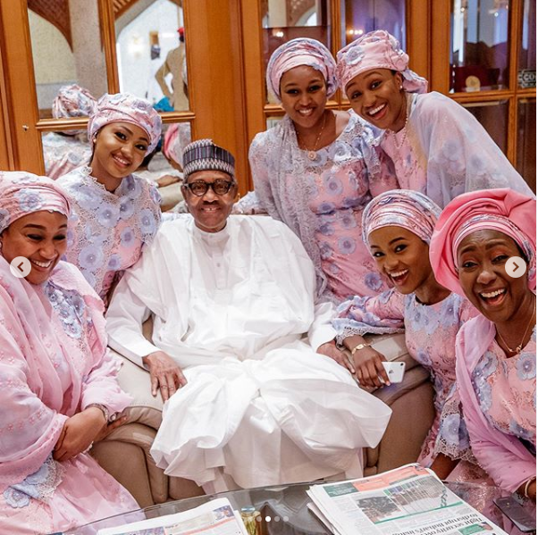 President Buhari pictured with his beautiful daughters?in new family photo