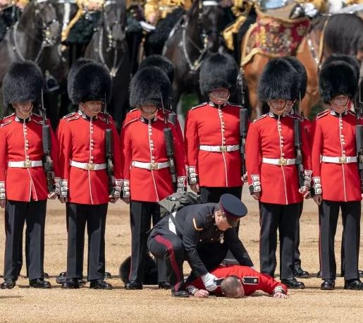 Lol! Two guardsmen faint during rehearsals for the Queen?s birthday celebrations next week (Photos)