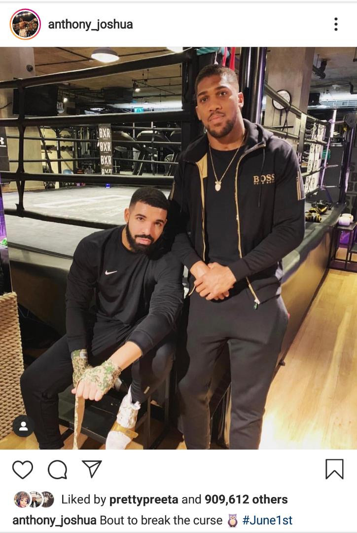 The Drake Curse: Anthony Joshua becomes the latest victim after posting picture with the Canadian rapper (Screenshot)