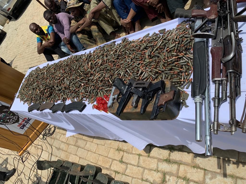 Nigeria Police arrest illegal arms dealers smuggling rifles and ammunition into Nigeria