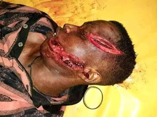 Graphic Photos: Suspected cultist allegedly hacked to death by rival cult members in Delta State