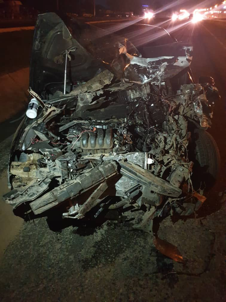 Nigerian man is overflowing with gratitude to God after he survived an accident that wrecked his car