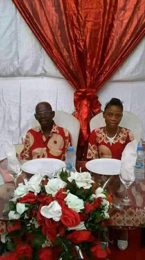 Photos of an elderly man and his bride is causing a stir online