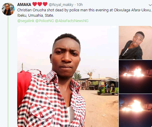 Young man allegedly shot dead by trigger-happy police officer in Umuahia (photos)