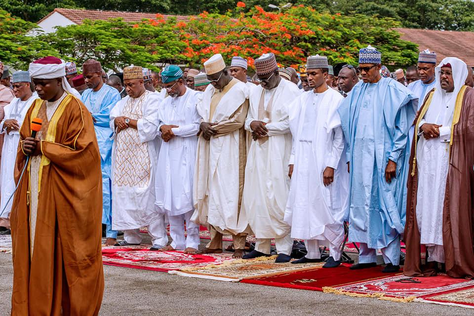 Photos: President Buhari attends Eid El Filtri prayers at the Mabilla Barracks (Photos)