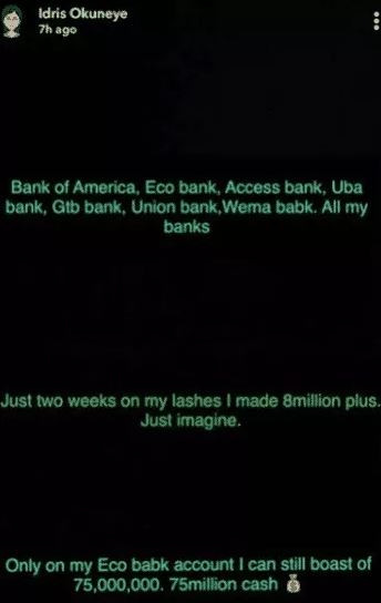 Bobrisky brags about making ?8 million In two weeks also claims to have 75m in one of his bank accounts (Screenshots)