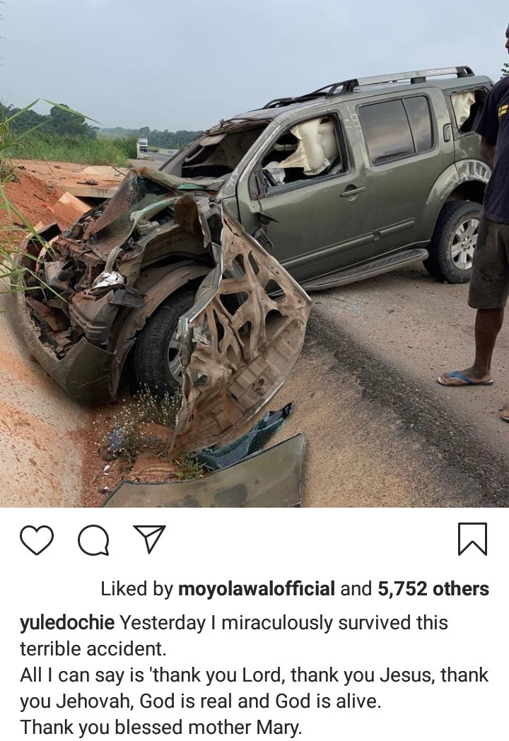 Yul Edochie miraculously survives after his car somersaulted multiple times and landed in a gutter in Ore