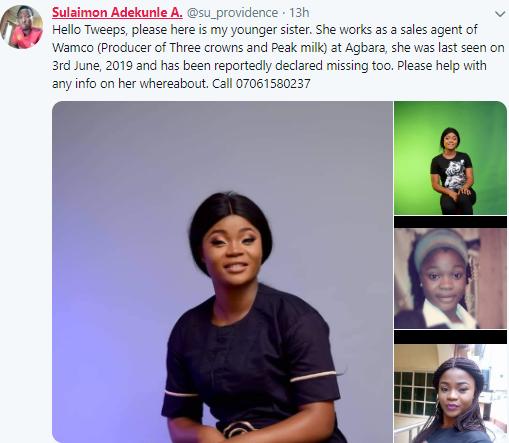 22-year-old Lady, Oluwakemi Soyebo, declared missing in Lagos (photos)