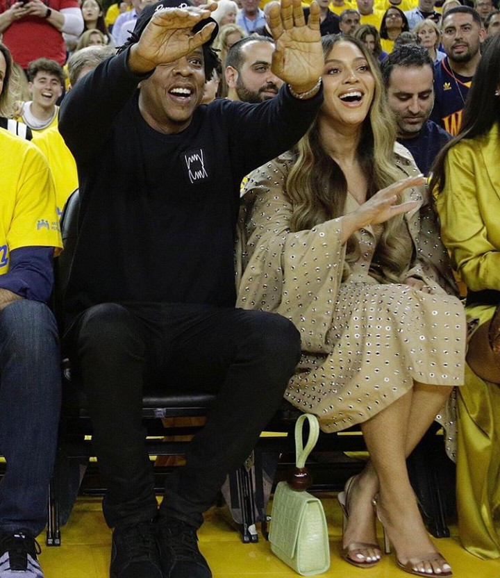 Beyonce and Jay-Z pictured sitting courtside at NBA finals last night