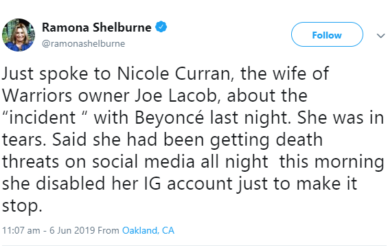 Nicole Curran said incident with Beyonce left her in tears and she