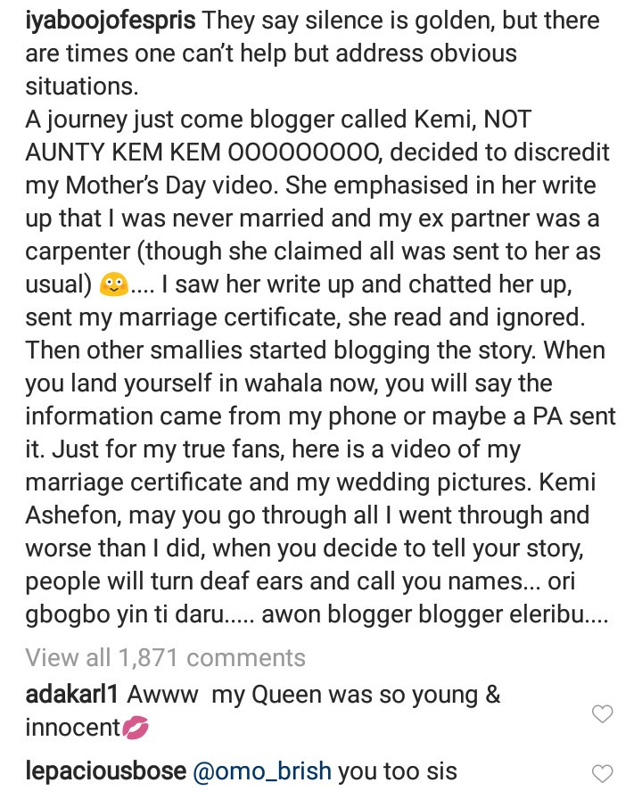 Iyabo Ojo releases photos from her wedding and her marriage certificate to discredit claims that she never got married