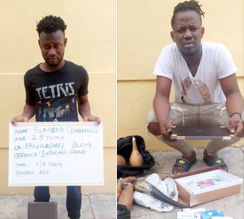 Two suspected internet fraudsters and their charms arraigned in court (photos)