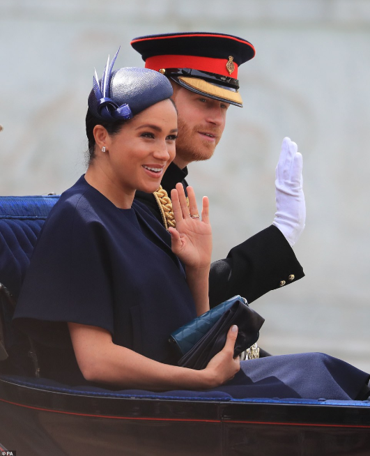 Beautiful Meghan Markle makes her first public appearance since son Archie was born as she joins royal family for Trooping of the Colour