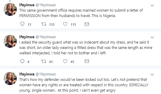 Lady left in shock after she was stopped from entering a government office because of her