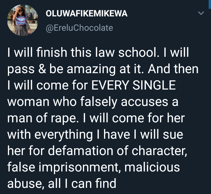 Female law student says when she graduates, she