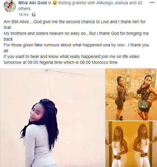 """Heaven no easy oo"" Nigerian woman who claimed she ""died"" and came back to life over the weekend speaks"