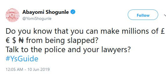 Do you know that you can make millions from being slapped? - Yomi Shogunle tweets following Peruzzi and Pamilerin