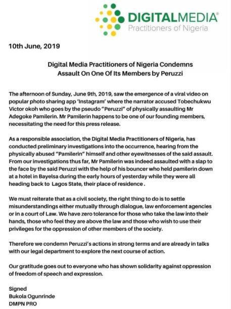 Digital Media Practioners of Nigeria issue statement on Peruzzi VS?Pamilerin