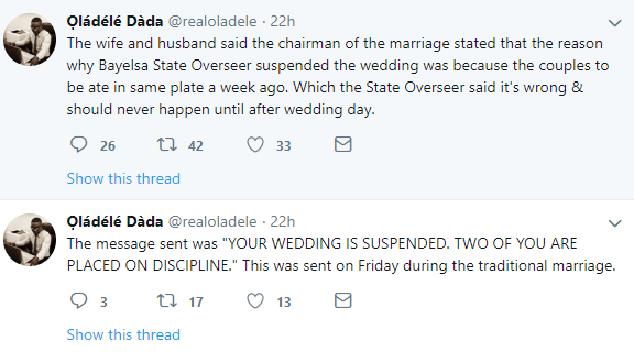 Deeper Life Church in Bayelsa suspends couple?s wedding because they ate from the same plate while dating
