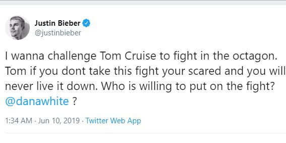 The world reacts as Justin Bieber challenges Tom Cruise to a UFC fight