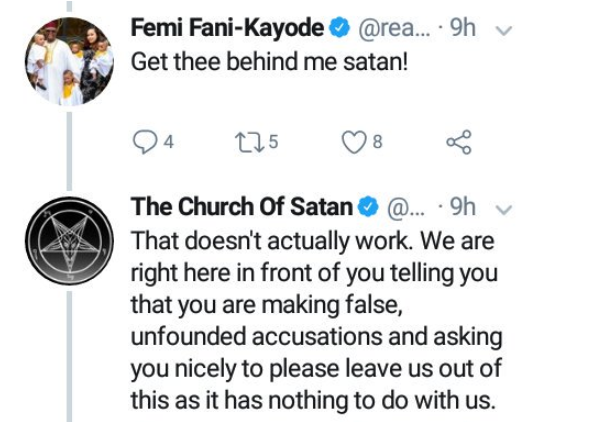 Hilarious! FFK and Church of Satan clash on Twitter