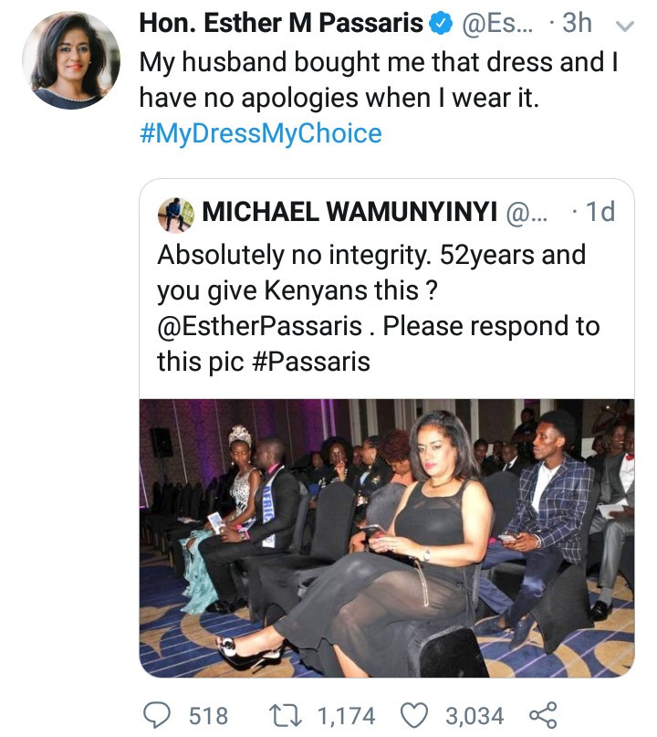 Kenyan politician silences twitter users who criticized her revealing outfit with curt reply