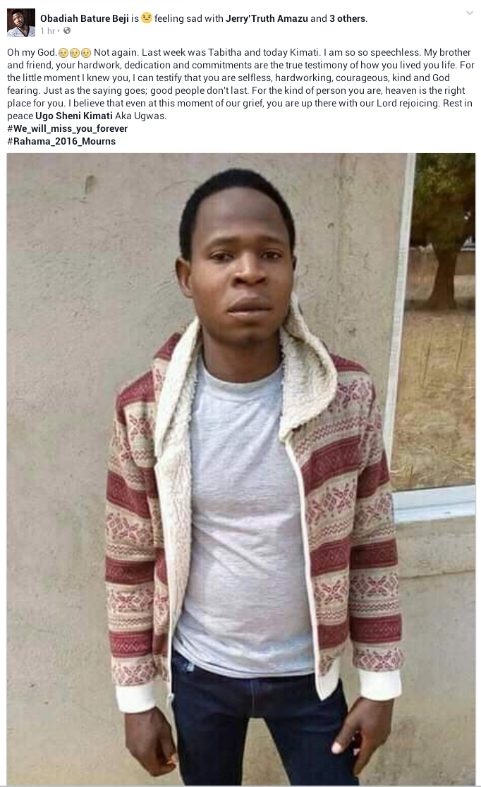 Photos of 100L male student killed by gunmen while trying to rescue ladies at Plateau State University female hostel