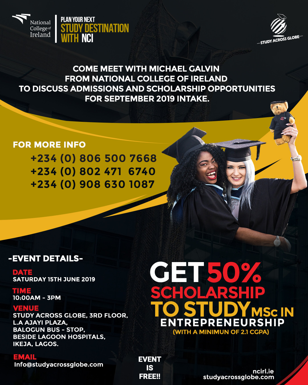 Meet with Michael Galvin from National College Of Ireland to discuss admissions, scholarships and post study visa opportunities for September 2019 intake!