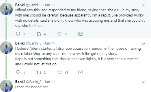Nigerian man calls out his ex-girlfriend, accuses her of spreading false rumor of him being a rapist