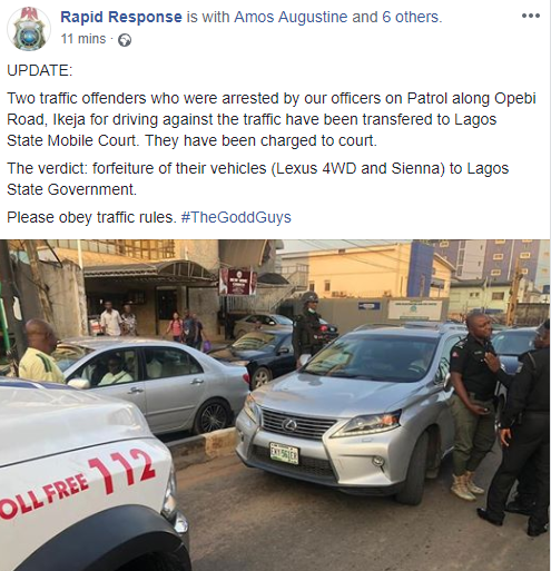 Lagos state Mobile court orders two traffic offenders to forfeit their vehicles to state government