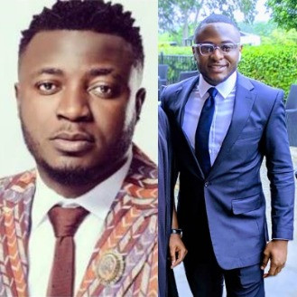 Photo:  For contributing to his rent many years ago, MC Galaxy gifts his friend Ubi Franklin N3m