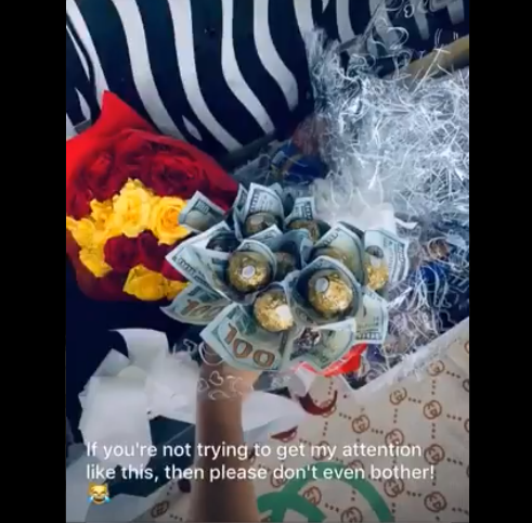 UNILAG student receives bouquet of Dollars from a crush who wanted to get her attention (video)