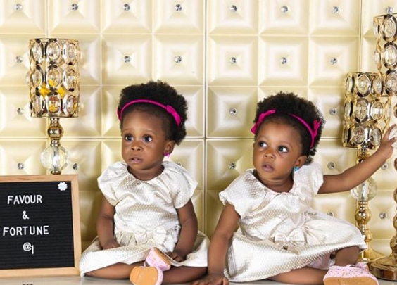 Singer, Chuddy K, shares new photos of his twin daughters who turns 1 today
