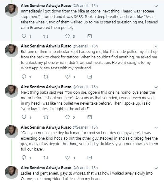 Openly gay Nigerian man narrates his encounter with SARS after text exchanges between him and his boyfriend was found on his phone