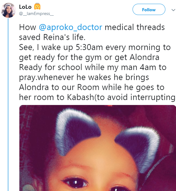 Mother reveals how a health tip she learnt on Twitter saved her daughter