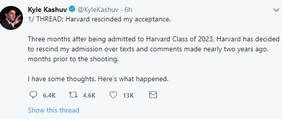 Harvard revokes teenager