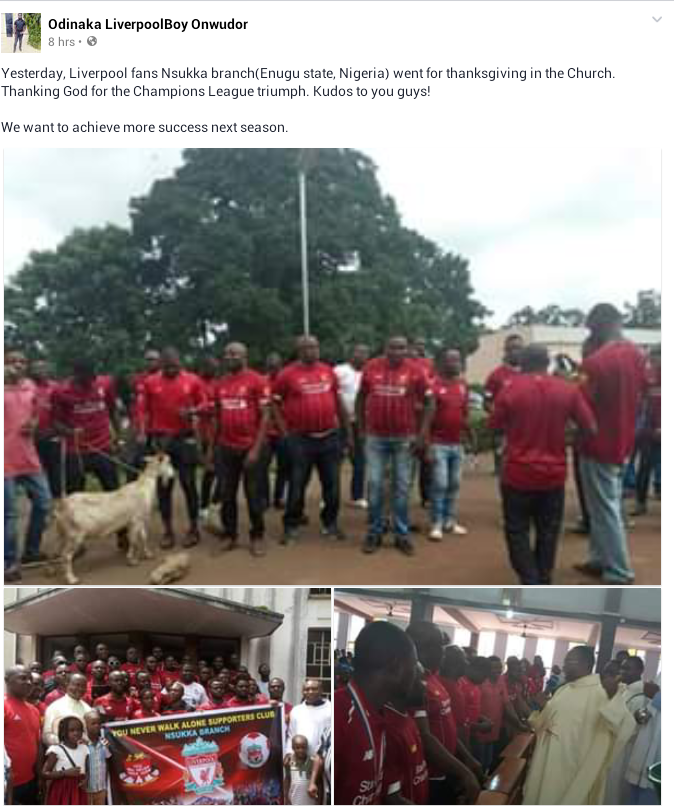 Photos: Liverpool fans, Nsukka branch go for thanksgiving in Church after historic Champions League win
