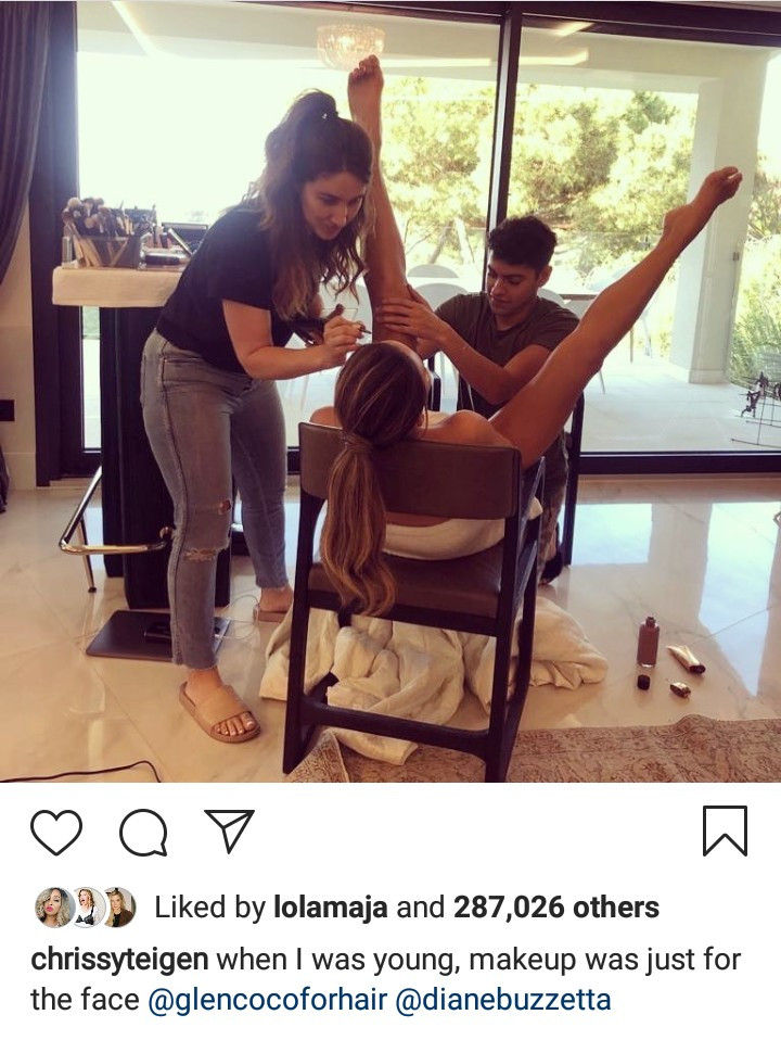 Chrissy Teigen shares a look at what goes on during her makeup session