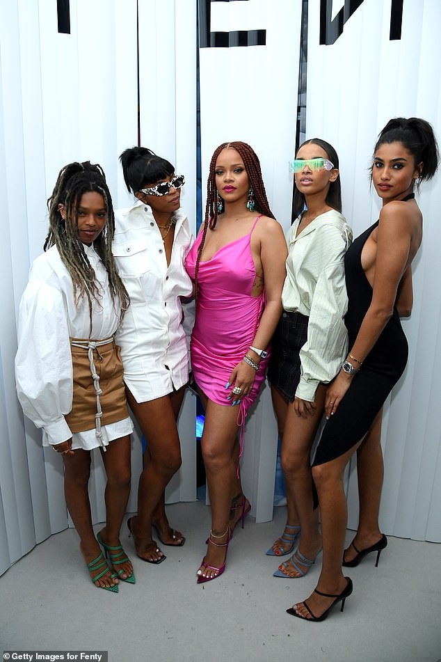 Rihanna commands attention in pink mini dress & shows off her new braided hairdo at Fenty launch in New York (Photos)