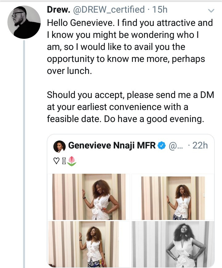 Man boldly shoots his shot at Genevieve Nnaji and Twitter users are impressed