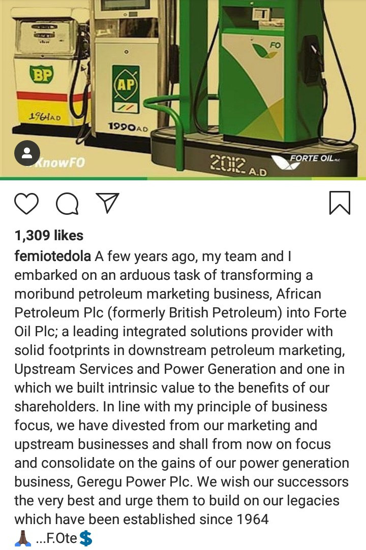 Femi Otedola announces his exit from Forte Oil
