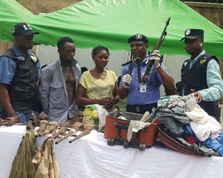 Nursing mother apprehended with AK47 rifle in her traveling bag, says her husband gave the bag to her